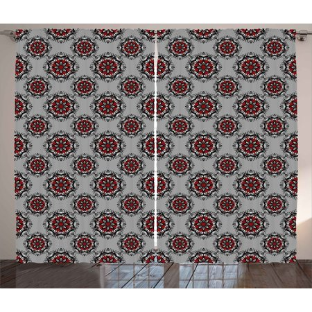 Red and Black Curtains 2 Panels Set, Persian Moroccan Middle Eastern Design with Flower Image, Window Drapes for Living Room Bedroom, 108W X 63L Inches, Pale Grey White and Burgundy, - White And Burgundy
