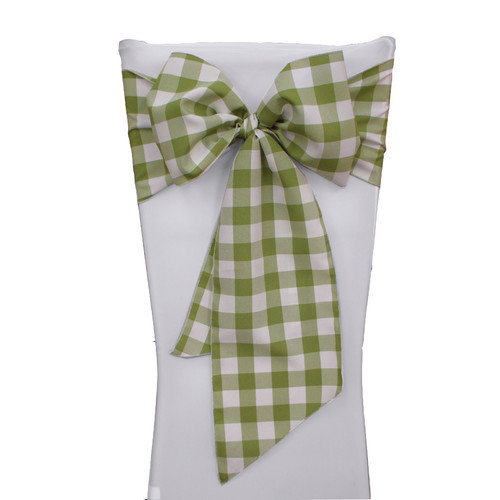 LA Linen Gingham Checkered Chair Bow (Set of 10)