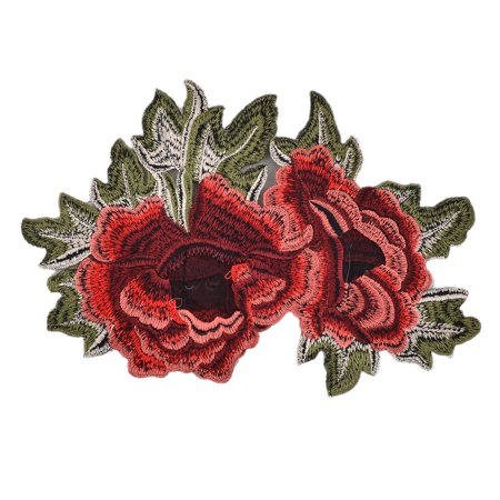 Unique Bargains Polyester Peony Design DIY Sewing Hat Decoration Lace Applique 9.1 Inches Length