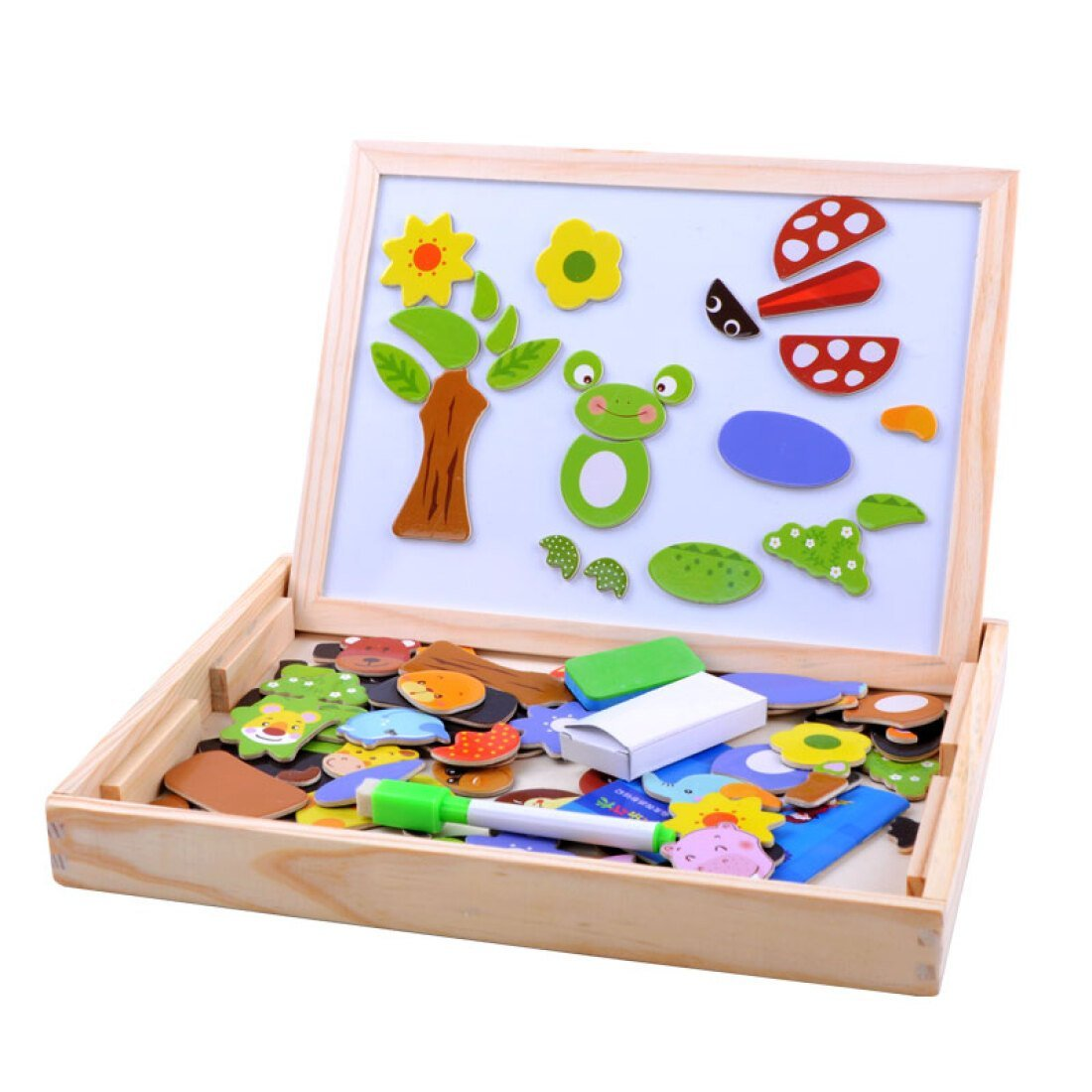 Alytimes Wooden Magnetic Jigsaw Puzzles Games Toddler Toys Double Sided Drawing Easel for Kids by