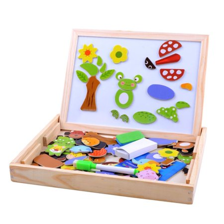 Wooden Magnetic Jigsaw Puzzles Games Toddler Toys Double Sided Drawing Easel for Kids