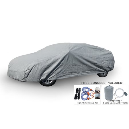Weatherproof Car Cover For Nissan 370Z 2005-2019 - 5L Outdoor & Indoor - Protect From Rain, Snow, Hail, UV Rays, Sun & More - Fleece Lining - Includes Anti-Theft Cable Lock, Bag & Wind