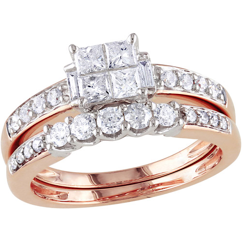 Miabella 1 Carat T.W. Princess-, Baguette- and Round-Cut Diamond 14kt Rose Gold Bridal Set
