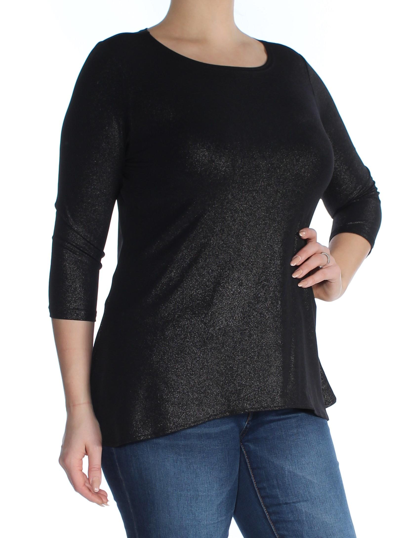 ALFANI Womens Silver Glitter Long Sleeve Scoop Neck Top Petites  Size: L