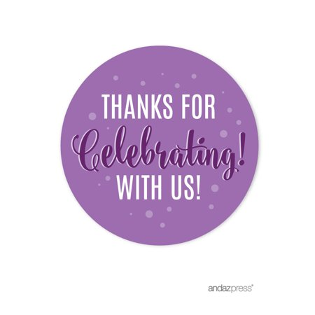 Lavender, Plum, Royal Purple Anniversary Party, Round Circle Labels Stickers, Thanks for Celebrating With Us!, 40-Pack - Ltm Party