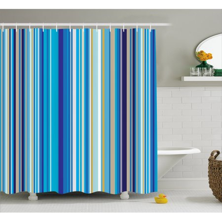 - Blue Shower Curtain, Vertical Stripes Repeating Retro Revival Pattern Funky Abstract Composition, Fabric Bathroom Set with Hooks, 69W X 70L Inches, Mustard Blue White, by Ambesonne