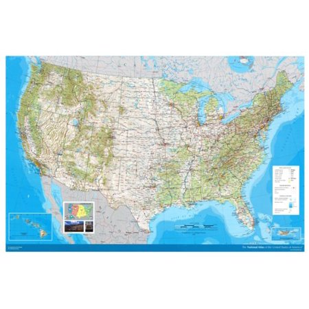 Map National Atlas Of Usa Poster Transport Routes Physical Features (Usa Physical Features)