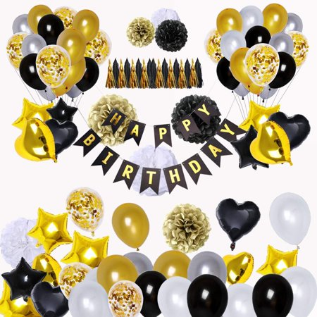 High Supply Black and Gold Party Decorations(90Pcs) Happy Birthday Banner Star Heart Foil Balloons 18th 20th 30th 40th 50th 60th 70th Birthday Decorations Birthday Balloons