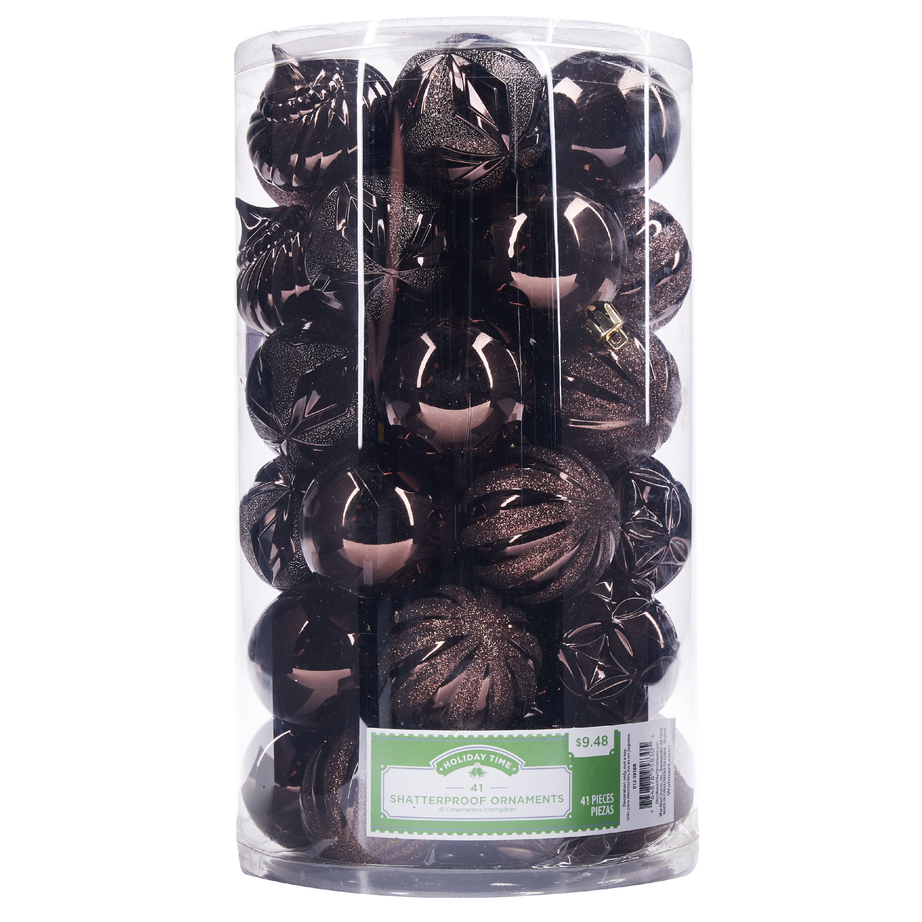 Holiday Time Shatterproof Ornaments, Brown, 41 Count