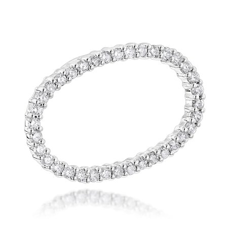 14K Womens Natural 0.7 Ctw Diamond Necklace For Her (White Gold)