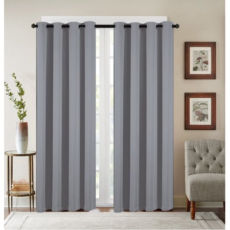 2 Pack: Heavy Duty Basic Solid Colored Blackout Curtain Panels - Grey