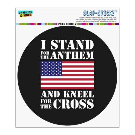 I Stand For The Flag Kneel Cross USA American Flag Patriotic Automotive Car Window Locker Circle Bumper (Patriotic Cross)