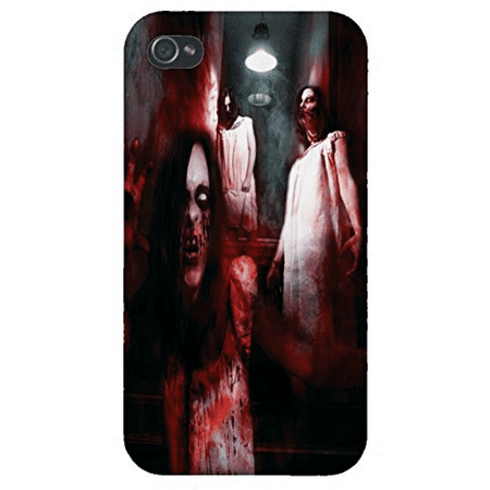 Apple Iphone Custom Case 5 / 5s White Plastic Snap on - Nightmare Zombies Cellar Stairs