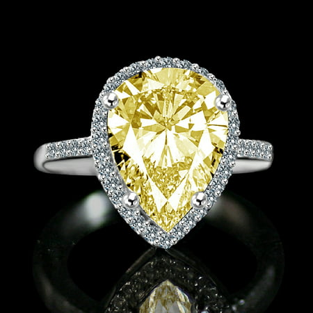 4 ct.Classic pear center settings ring, simulated diamond ()