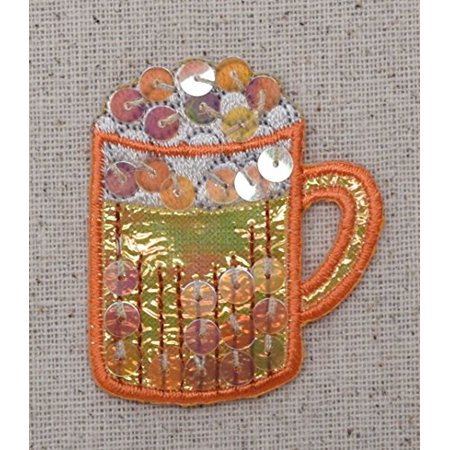 Drink Mug - Orange - Beer - Alcoholic - Beverage - Sequins - Iron on Embroidered