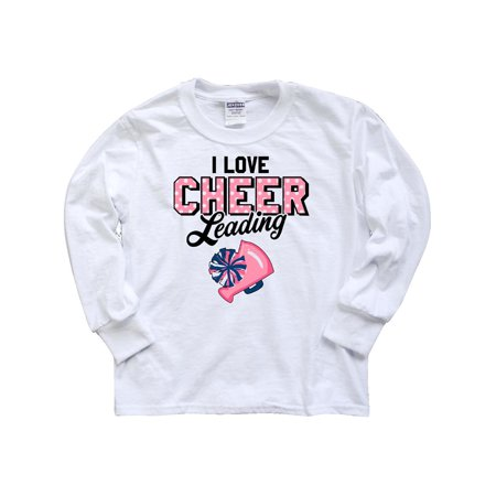 I Love Cheerleading with Pom Poms and Megaphone Youth Long Sleeve T-Shirt for $<!---->