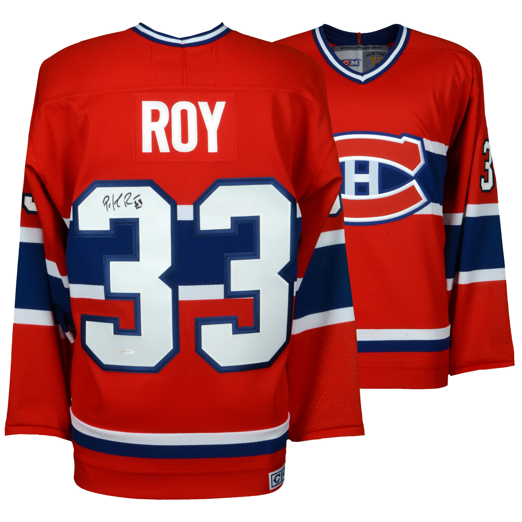Patrick Roy Montreal Canadiens Autographed Centennial Red Jersey - Upper Deck - Fanatics Authentic Certified