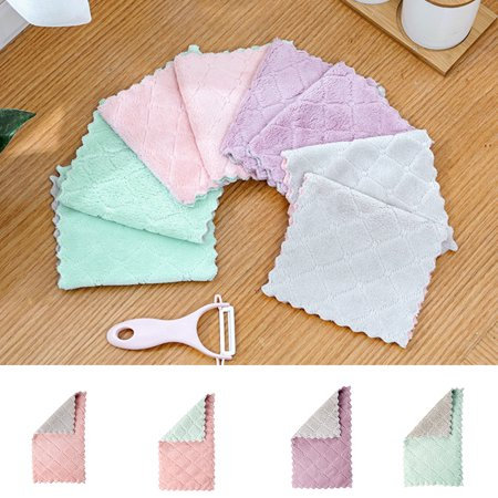 Electronicheart Double Colors Rag Dish Cloth Water Absorption Thickening Pot Washing Towel Table Home Kitchen Dishcloth - image 8 de 8