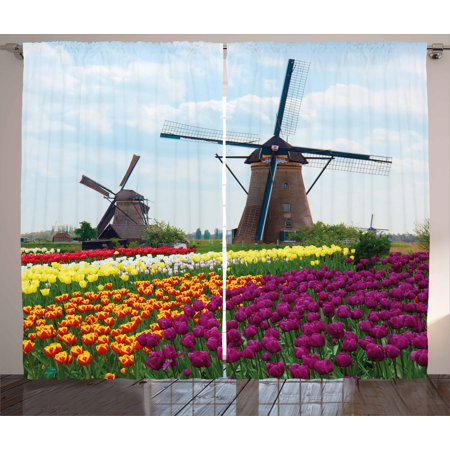 Windmill Curtains 2 Panels Set, Bedding Plants of Netherlands Farm Country Heritage Historical Architecture Theme, Window Drapes for Living Room Bedroom, 108W X 96L Inches, Multicolor, by Ambesonne ()