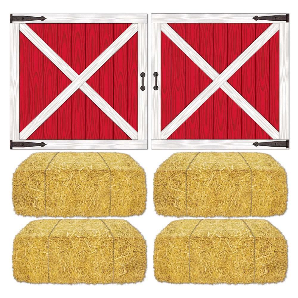 Beistle Barn Loft Door & Hay Bale Props (12 kits)