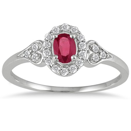 Diamond Vintage Ruby Ring (Ruby and Diamond Vintage Style Ring in 10K White Gold )