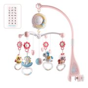 Musical Baby Crib Mobile Toy with Lights And Music Star Projector Hanging Rotating Bell Timing Projection for Baby Shower Gift