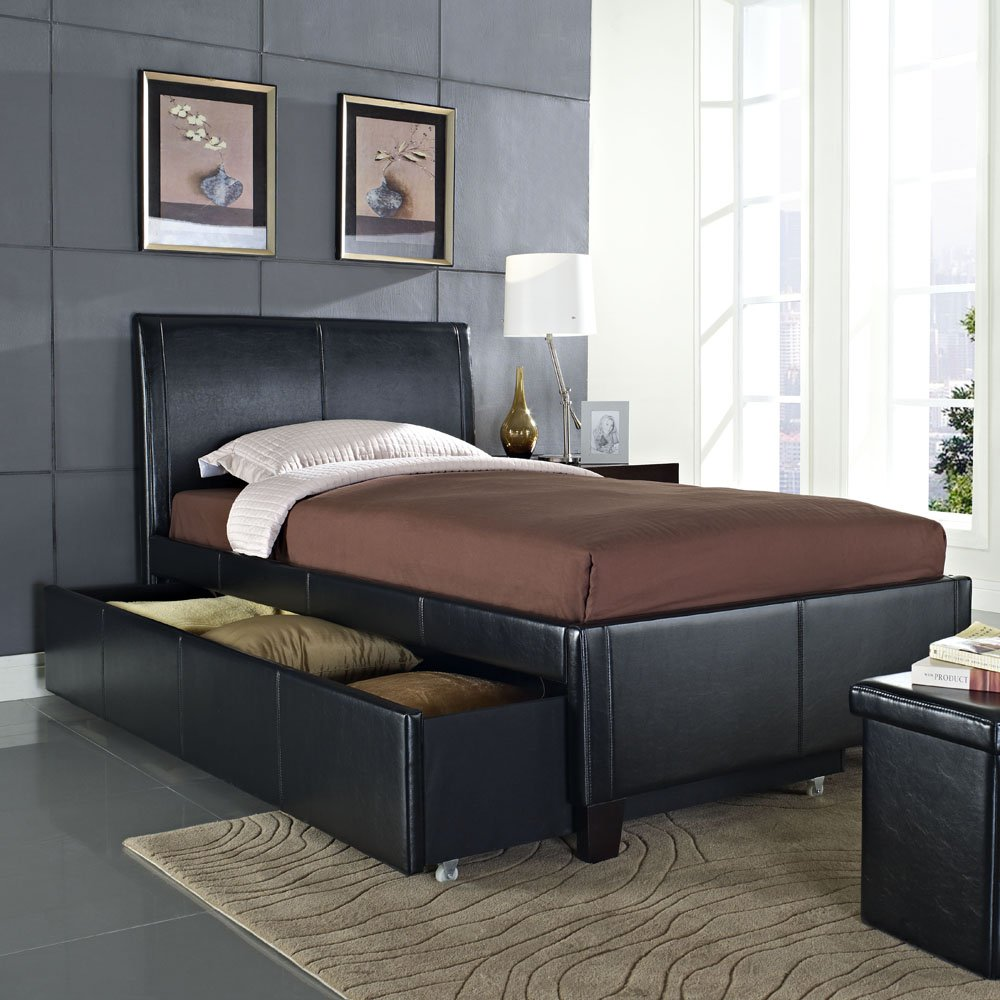 Standard Furniture New York Upholstered Trundle Bed in Black (Twin) by
