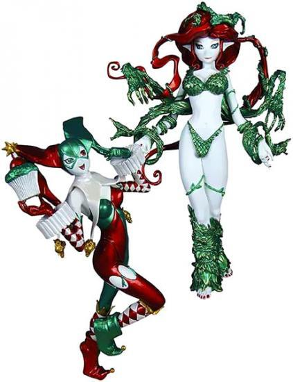 DC Ame-Comi 9 Inch Holiday Harley Quinn & Poison Ivy PVC Statue 2-Pack by