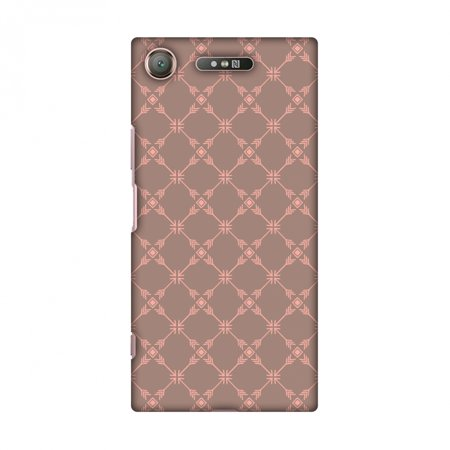 Sony Xperia XZ1 Case - Tribal mesh- Antique brass, Hard Plastic Back Cover, Slim Profile Cute Printed Designer Snap on Case with Screen Cleaning Kit