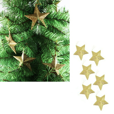 "Dreamlike 3.5"" Christmas Tree Hanging Gold Glitter Star Decorations Ornaments, Pack of 6"