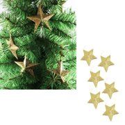 35 inch christmas tree hanging gold glitter star decorations ornaments pack of 6 - Christmas Hanging Decorations