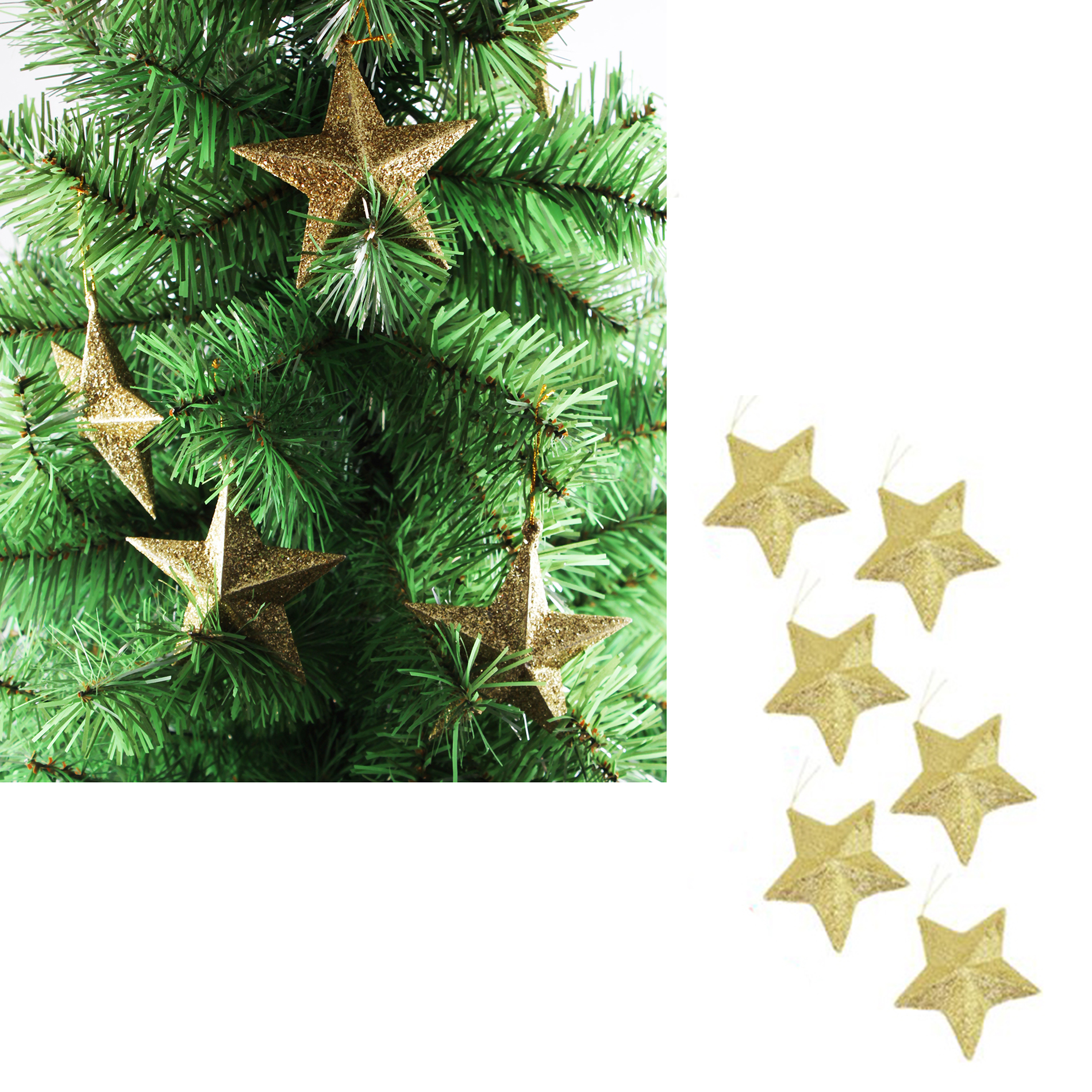 3.5 inch Christmas Tree Hanging Gold Glitter Star Decorations Ornaments Pack of 6