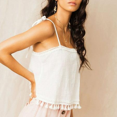 XIAXAIXU Womens Summer Boho Linen Strappy Tank Vest Cami Bralet Blouse Shirt Crop Tops (Boho Crop)