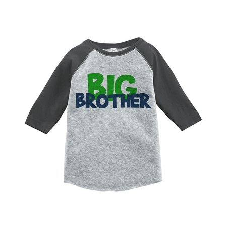 Custom Party Shop Boy's Novelty Big Brother Vintage Baseball Tee - Grey and Blue / 4T