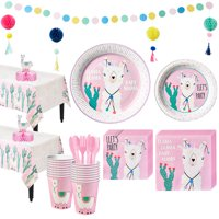 Party City Baby Llama Tableware Kit for 32 Guests, Includes Plates, Napkins, Table Cover, and Decorations