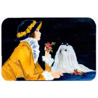 Lady With Her Maltese Mouse Pad & Hot Pad Or Trivet