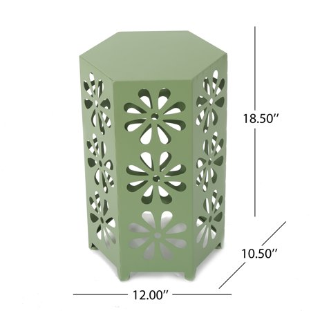 Drew Outdoor 12 Inch Iron Floral Side Table,Green