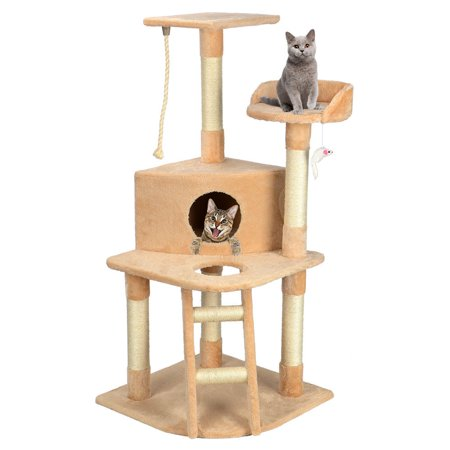 """LIVINGbasics 50"""" Cat Tree Condo House Cat Scratching Post with Toy - image 1 of 6"""