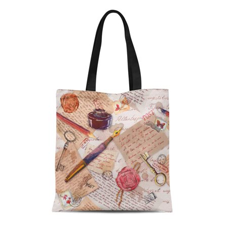 ASHLEIGH Canvas Tote Bag Watercolor Old Text Keys Pen Ink and Postal Stamps Durable Reusable Shopping Shoulder Grocery