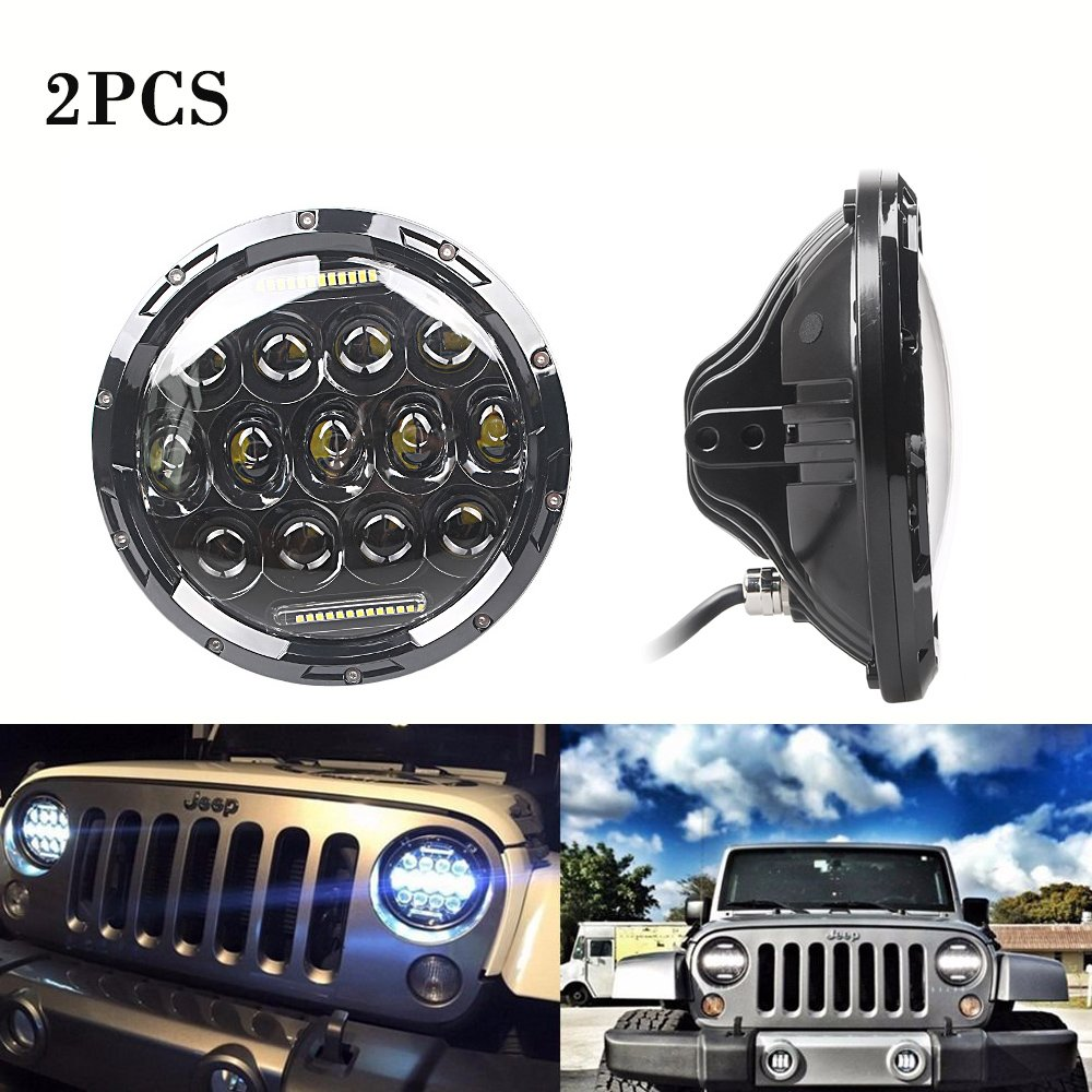 GZYF 2PCS 7inch 75W PHILIPS LED Headlight H4 H13 DRL HIGH LOW BEAM for JEEP JK Wrangler