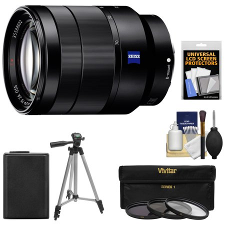 Sony Alpha E-Mount Vario-Tessar T* FE 24-70mm f/4.0 ZA OSS Zoom Lens + NP-FW50 Battery + 3 Filters + Tripod Kit for A7, A7R, A7S Mark II, A5100, A6000, (Best Lenses For Sony A7r)