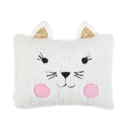American Kids Figural Kitty Sherpa Pillow- 20