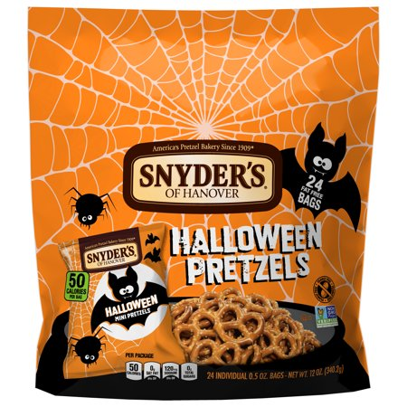 Snyder's of Hanover Mini Pretzels, Halloween Trick-or-Treat Snack Sack, 0.5 Oz, 24 Ct