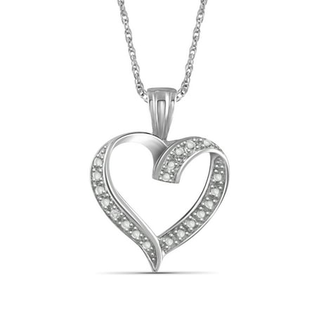 Diamond Open Heart Pendant - White Diamond Accent Sterling Silver Open Heart Pendant