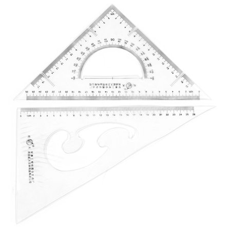 Unique BargainsOffice Plastic Drawing Tool Right Angle Triangle Ruler Combo Protractor 2 in 1