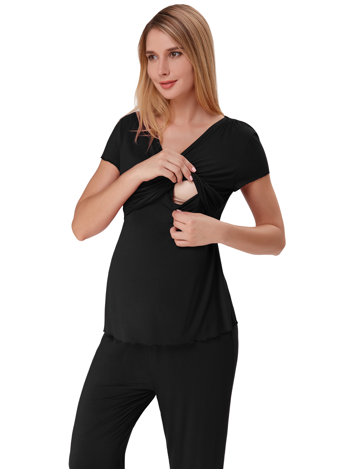 Zexxxy Women Maternity Nursing Pyjamas Set Cotton Long Pregnancy Pjs Set Nightwear