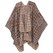 Sakkas Lupe Womens Reversible Poncho Wrap Cape Shawl Sweater Coat Cardigan Pattern - Houndstooth Brown - One Size Regular