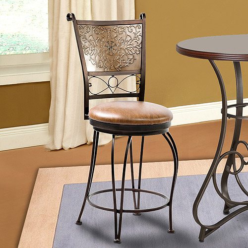 Branded Back Counter Stool, Bronze