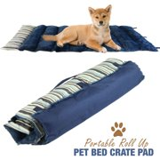 "Portable Dog Bed Roll Up Pet Mat Crate Pad - Travel, Camping, Carrier Cushion - 36"" x 23"" Blue Stripe"