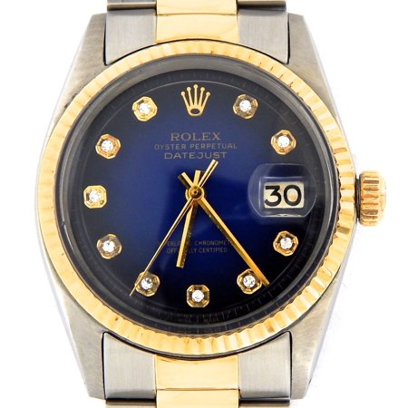 Pre-Owned Mens Rolex Two-Tone 14K/SS Datejust Blue Diamond 1601 (SKU 3501756BCMT)
